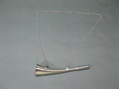 Silbern  Stethoskop Hörrohr Hearing Pipe Hörmaschine Ear Trumpet 23 cm mit Kette 9