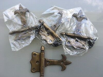 "4 small aged solid Brass DOOR small hinges vintage age antique style heavy 3"" B 4"