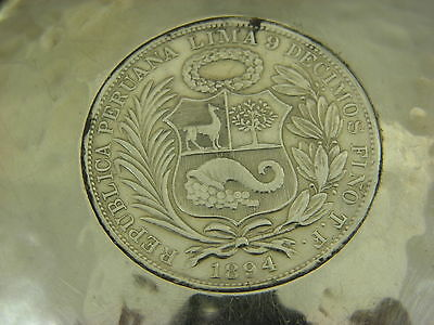 Beautiful Sterling Silver Ashtray With Peruana Lima .9 Coin 1894 9