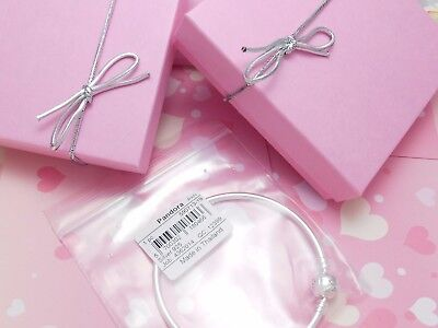 Authentic Pandora Silver Bangle Charm Bracelet With GOLD Heart European Charms. 3