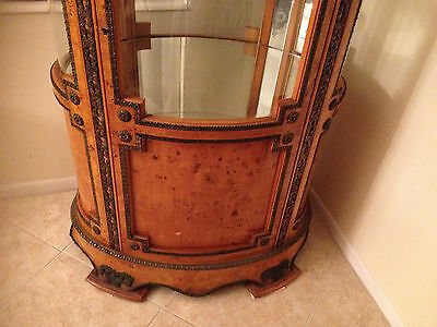 9 of 12 Antique French Style Oval Curio Cabinet with Bronze Decorations - ANTIQUE FRENCH STYLE Oval Curio Cabinet With Bronze Decorations