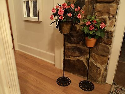 2 Matching Antique Wrought Iron Metal Plant Stands CAST LEAF vtg victorian RARE 3