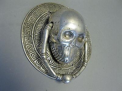 Türklopfer Skull Totenkopf Schädel  versilbert  15 cm  0,45Kg  Gothic Magie 4