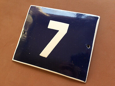 ANTIQUE VINTAGE ENAMEL SIGN HOUSE NUMBER 7 BLUE DOOR GATE STREET SIGN 1950's