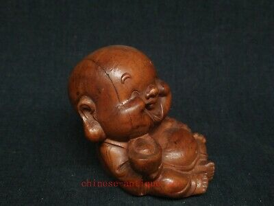 Collect Ancient China Boxwood Wood Hand Carved Happy Buddha Statue Decoration 2