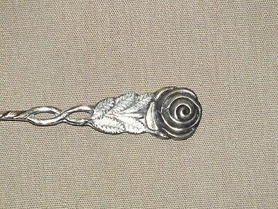 Beautiful Silver Rose Leaf Pattern Pickle Fork Made in Sweden 4