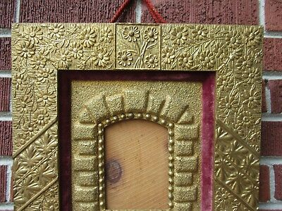Antique AESTHETIC Movement ERA Floral GOLD Frame for Small MINIATURE Photo c1880 3