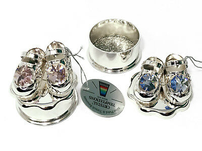 Crystal Pink/Blue Baby Girl Silver Plated Shoe Ornament Christening Trinket Box 2