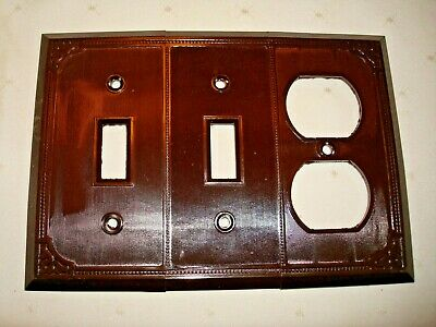 Vintage Smith & Stone Bakelite 3 Gang Brown Ribbed Combo Wall Plate Nos 302-6 2