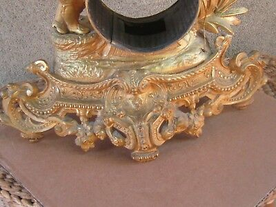 ANTIQUE FRENCH GILDED SPELTER FIGURAL MANTEL CLOCK CASE ONLY-19th c. 2