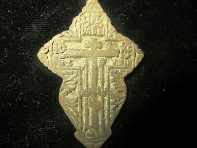 AUTHENTIC LATE MEDIEVAL BRONZE CROSS PENDANT - WEARABLE - 800 years old 3