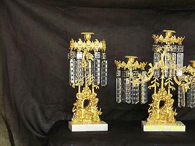 c1850's 3pc Set Girandole Majestic Candelabras Phili.-N.Y. w/Crystal Gold Gilded 4