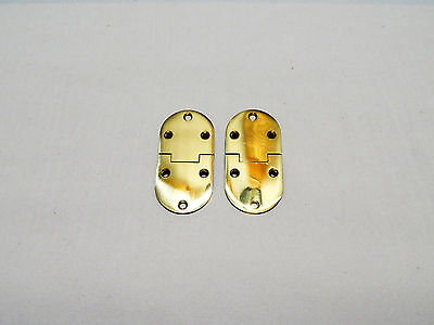Butler Tray Hinge Round Edge Polished Brass - Pair 2