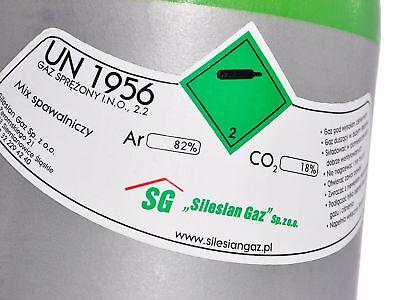 Bombola di gas 8 litri ARGON (82%) + CO2 (18%) inerte MIG saldatura + Riduttore 4