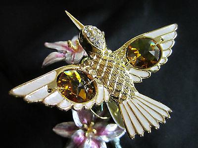 Blume 13cm Hoch mit Swarowski Kristallen Bestückt Vergoldet Gold Plattiert DEKO