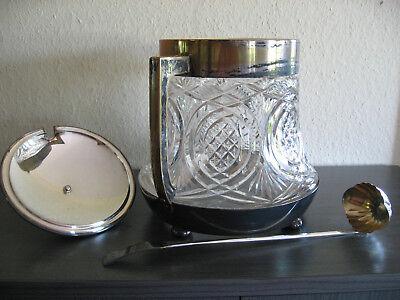 Original alte Bowle, Glas, Messing versilbert mit Bowlelöffel, 36 cm hoch 2