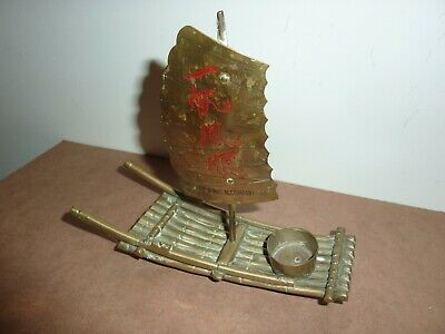 Vintage Chinese/Oriental 19Cm Long Brass Candle/Incense Burner Raft With Sail 2