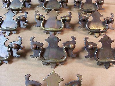 (10) Antique Brass Drawer Pulls / Handles -- Solid Brass -- W/ Original Screws 3