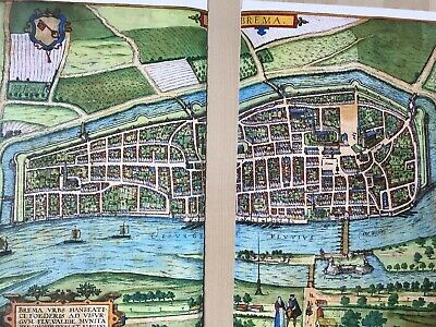 Old Antique Historic Map Bremen, Germany: 1598 Braun & Hogenberg REPRINT 1500's 8