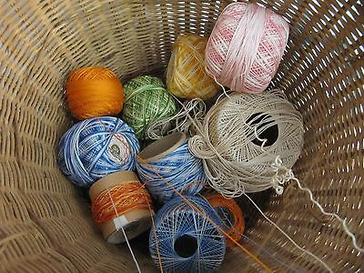 Antique Woven Wicker Reed Round Hanging Sewing Basket~Glass Bead Tassels~Vintage 8