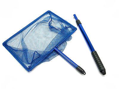 "12""x 8"" Koi Fish réglable Poignée net 30 ~ 54cm aluminium étang de pêche bleu 3"