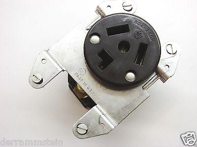 Vintage GE 4131-1 3-Wire Flush Dryer Outlet In Box 250V 30A Brown Plastics b98 2