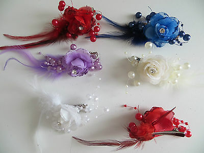 1 Bridesmaids,Flower Feather Bead Corsage Hair Clips Fascinator Hairband and Pin 3