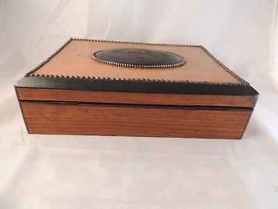 Caja Antigua De Madera De Roble Con Compartimentos 8
