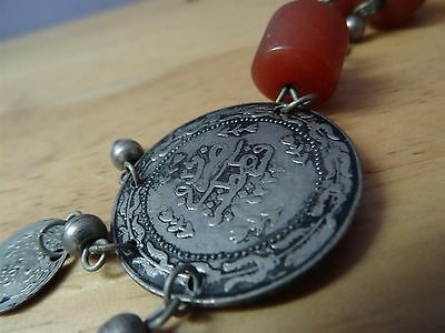 Antique Silver ? Coins Folklore  Necklace 19th C. Ottoman & old amber Bedouin