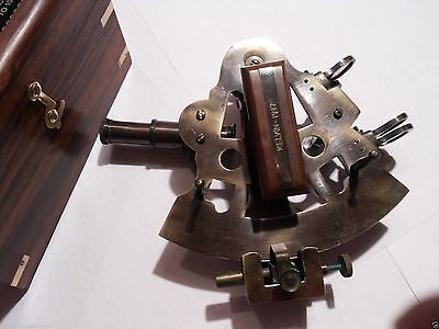 Brass Sextant German Marine Sextant With Wooden Box 5