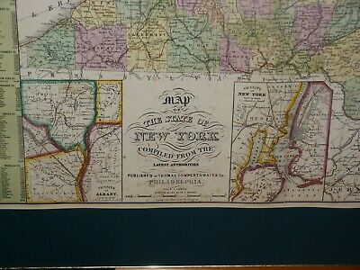 Large 1855 Hand-Colored Cowperthwait Map of New York w Census & Almanac Details! 5