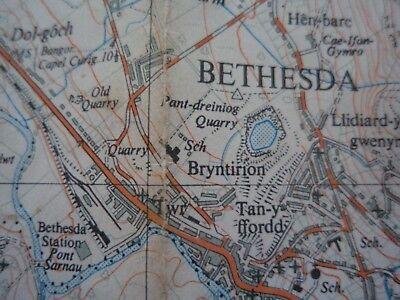 "RARE Ordnance Survey 2.5"" map SH66 Bethesda 1958 Llyn Ogwen 3"