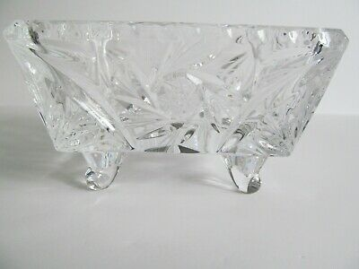 Crystal Glass Bowl Dish 4 inch Square Footed Pinwheel Etched Stars Faceted Vtg 6