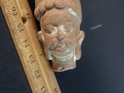 """Old Hindustan India Early Gandhara Stone Pottery Head 2nd-3rd Century AD 2.75"""" 2"""