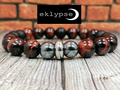 "8""L STAINLESS STEEL 10mm Tigers Eye+Hematite+Onyx Gemstone Beaded Men's Bracelet"