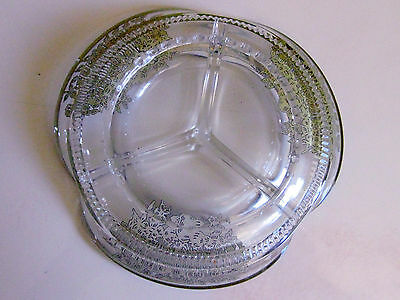 Vintage STERLING SILVER Art Deco Overlay Cut Glass 3 Section CANDY Bowl Dish 4