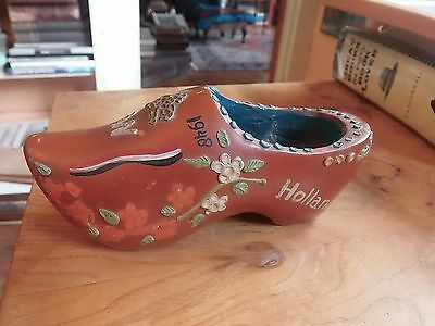 1898-1948 Dated Souvenir Den Haag Holland Netherlands Carved Painted Wood Shoe