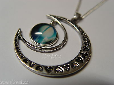 CRESCENT MOON WITH GLASS GALAXY CABOCHON PENDANT L Wicca Witch Pagan Goth