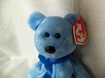 "TY Beanie Babies 8"" Blue w/ Snowflakes 1999 Holiday Teddy  New w/ Tag"
