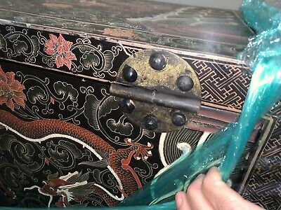 antique Chinese Black Lacquer Cabinet Dragons Double Top Wedding Chinoiserie 9