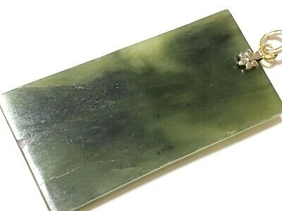 Vintage Asian Carved Jade Jadeite Gold Tone Pendant With Writing 2