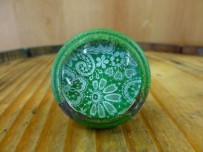 2 GREEN-WHITE LACE GLASS DRAWER CABINET PULLS KNOBS VINTAGE DISTRESSED hardware 8