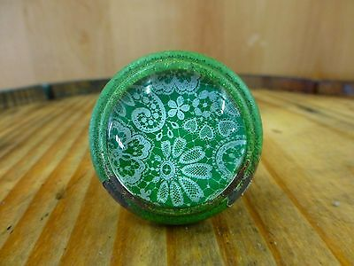 6 GREEN-WHITE LACE GLASS DRAWER CABINET PULLS KNOBS VINTAGE DISTRESSED hardware 10