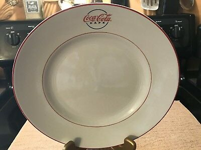 """Gibson Dinnerware Coca Cola Cafe Diner Pat. Large  Dinner Plate 11 1/2"""" Red Trim 2"""