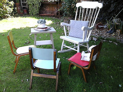 RARE COLLECTORS~ 1x Antique Vintage Wooden Child School Desk Chair (3 available) 9