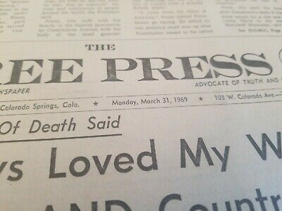Vintage 1969 March 31 Free Press   Original  Newspaper Ike Dwight Eisenhower 2