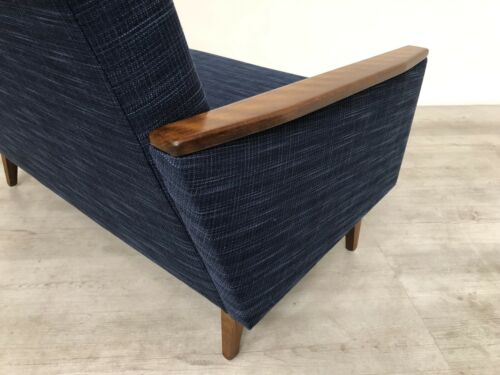 Danish Vintage Inspired Mid Century 50S 2 Seater Cocktail Sofa Settee In Navy 12