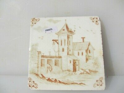 Antique Ceramic Tile Vintage French Village Boats River Windmill Nature Fishing 3