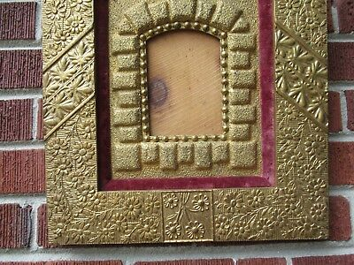 Antique AESTHETIC Movement ERA Floral GOLD Frame for Small MINIATURE Photo c1880 2