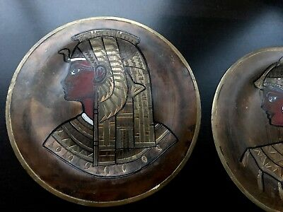 Pair of Vintage Copper Brass Silver Egyptian Plates - wall hangings 9